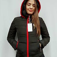 Куртка женская молодежная зимняя с вязаным капюшоном