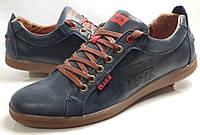 Мужские Осень-Весна Кожаные кроссовки туфли Levis model М 116 синие Польша