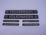 Наклейка s маленькая Volkswagen набор 6шт силиконовая надпись на авто эмблема Волксваген серебристая, фото 3