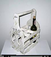 Деревянная подставка для вина Бокал 6 белая, фото 1
