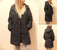 Женская стильная длинная куртка пуховик