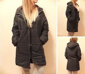 Женская осенне-зимняя стильная длинная куртка пуховик