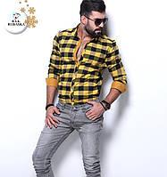 Мужская рубашка желтая в клетку