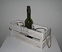 Деревянная подставка для вина - ящик на 3 бутылки, фото 1