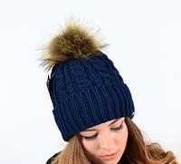 Молодежная женская шапка с помпоном.