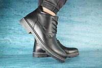 Мужские зимние ботинки с нат.кожи на меху черные размеры: 40 41 42 43 44 45