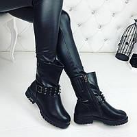 Женские зимние ботиночки чёрные прессованной кожие