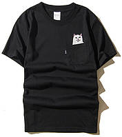 ✔️ Черная футболка Rip n dip с котом в карамне