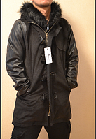 Мужское удлиненное пальто с кожаными рукавами