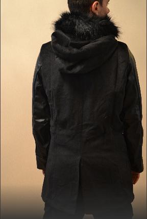 Мужское удлиненное пальто с кожаными рукавами, фото 2