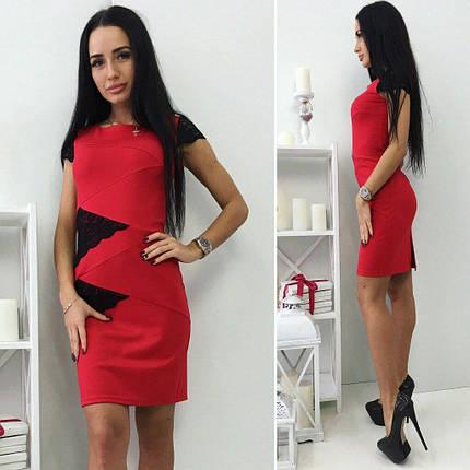 Красное платье с кружевными рукавами, фото 2