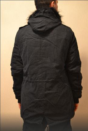 Мужская зимняя длинная парка куртка велюр Европейская зима, фото 2