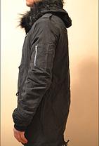 Мужская зимняя длинная парка куртка велюр Европейская зима, фото 3