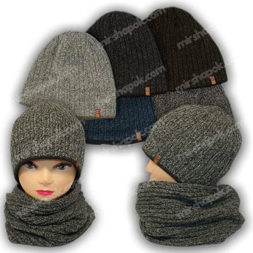 Комплект шапка и шарф для мальчика, р. 54-58, Grans (Польша), утеплитель флис, M163