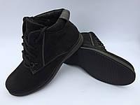 """Зимние черные замшевые мужские ботинки фабрики """"Cliford"""" на меху"""