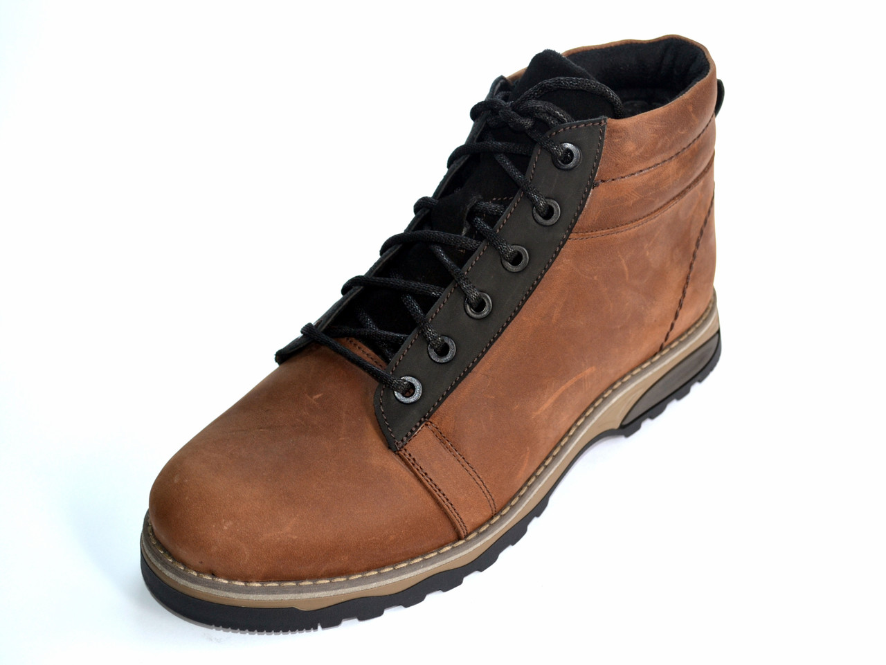 Зимові кросівки чоловічі з хутром коричневі Rosso Avangard Bridge SE Trend Brown шкіряні