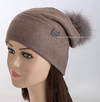 Удлиненная женская шапочка Кимберли с помпоном из песца