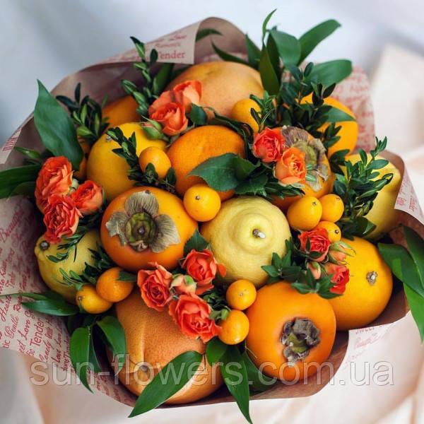 Фруктовий Букет( апельсини,хурма,цитруси і троянди.