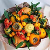 Букет фруктовый( апельсины,хурма,цитрусы и розы.