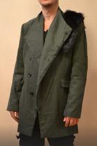 Уникальное зимнее пальто с мехом хаки интеллектуальный бомж, фото 2