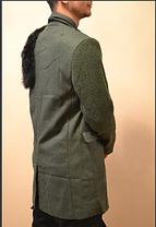 Уникальное зимнее пальто с мехом хаки интеллектуальный бомж, фото 3