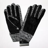 Мужские перчатки трикотаж-замш с флисовой подкладкой