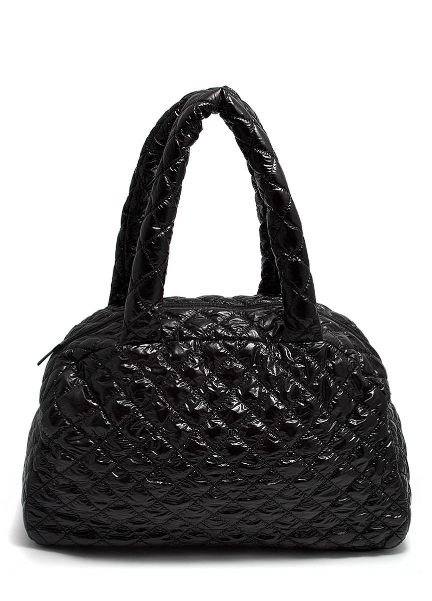 Женская стеганая женская сумка из ткани черная