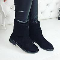 Женские зимние чёрные ботинки с манжетом замшевые