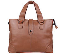 Мужская кожаная сумка для ноутбука бежевая
