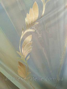 Тюль JC золотой лист