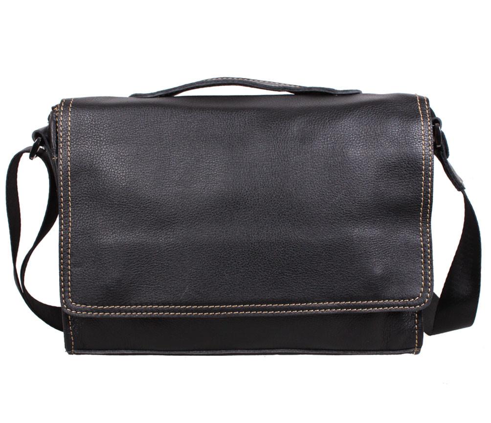 Универсальная мужская кожаная сумка горизонтальная черная