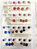 Серьги пуссеты за наушник камушек цветной( 12 пар)