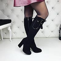 Женские зимние ботфорты чёрные на каблуках