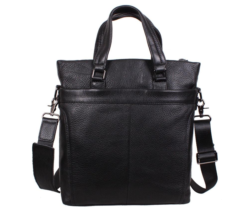 Вертикальная мужская кожаная сумка формата А4 черная