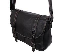 d0bec2694af4 Эксклюзивная мужская кожаная сумка горизонтальная формата А4 с кожаным  ремнем черная, фото 3
