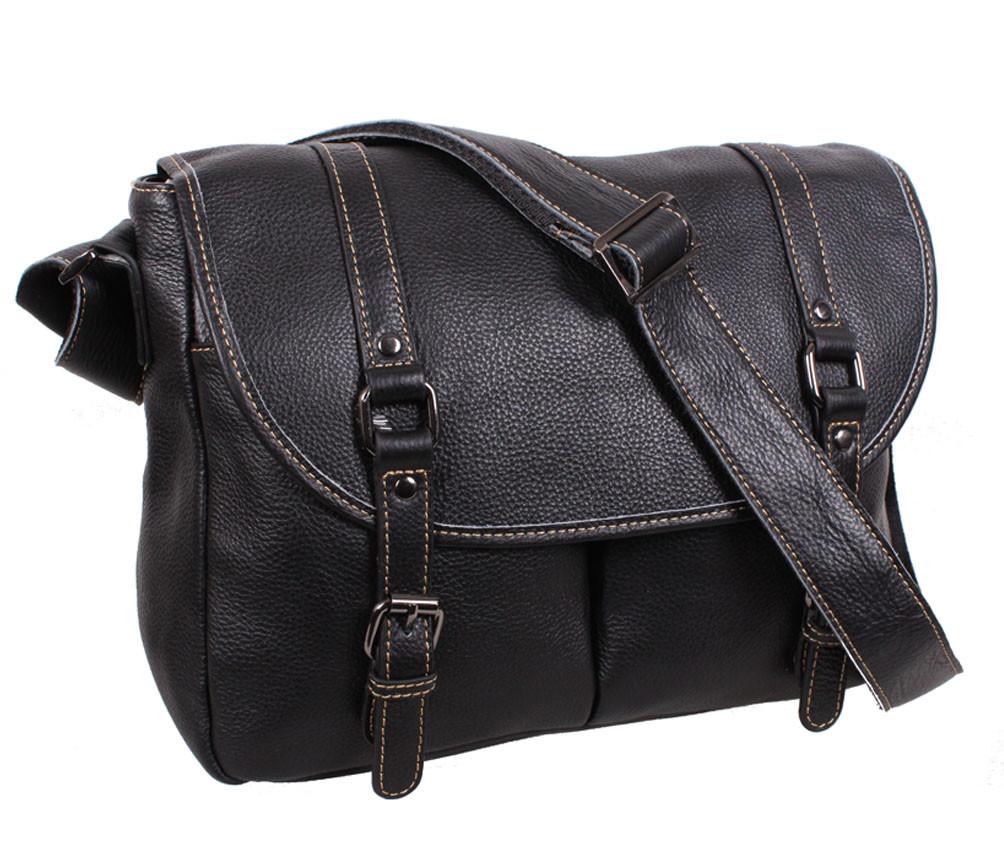 69c0f58d267b Эксклюзивная мужская кожаная сумка горизонтальная формата А4 с кожаным  ремнем черная