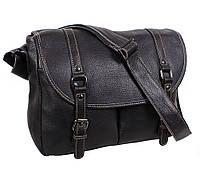 4d8841f4bff0 Эксклюзивная мужская кожаная сумка горизонтальная формата А4 с кожаным  ремнем черная