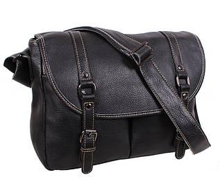 Эксклюзивная мужская кожаная сумка горизонтальная формата А4 с кожаным ремнем черная
