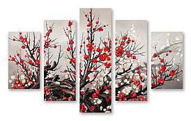 Модульна картина червоні квіти