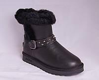 Угги женские черные кожаные с опушкой и ремешком