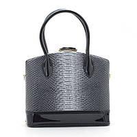 Шикарная женская сумка каркасная черная змея