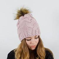 """Вязаная женская шапка """"Polli"""" с меховым помпоном"""