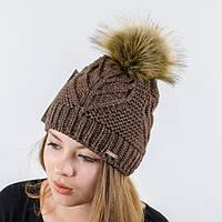 """Вязаная женская шапка """"Mila"""" с меховым помпоном"""