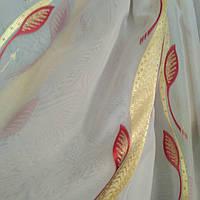 Тюль шифон бордо-золото листок, фото 1