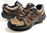 Мужские Осень-Весна Кожаные кроссовки туфли Salomon олива Польша