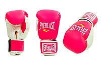 Перчатки боксерские Кожзам на липучке Everlast  (р-р 8-10oz, розовый-белый)