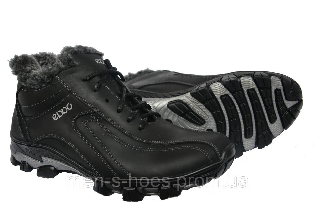 Кожаные мужские зимние ботинки натуральный мех