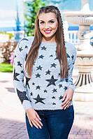 Теплый мягкий свитер со звездой ткань травка с 48-52 размер серый