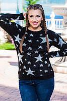 Теплый мягкий свитер со звездой ткань травка с 48-52 размер черный