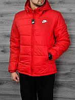 Мужская куртка зимняя Nike до -15,капюшон отстегивается,холофайбер 200, флисовая подкладка S M L XL